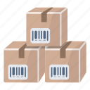 bar codes, boxes, packages, products, references icon