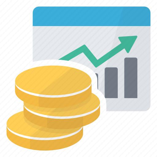 chart, coins, graph, graphic, money, report, summary icon