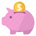bank, coin, moneybox, piggy, piggy bank, pink, savings icon