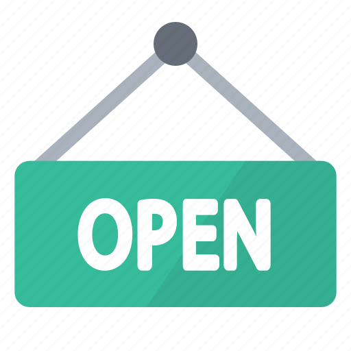 board, green, notice, open, sign, store icon