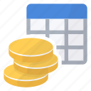 cells, coins, money, table icon