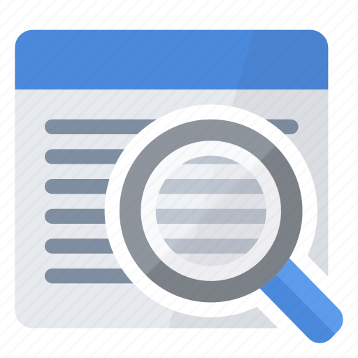 browse, data, glass, magnifying, search icon
