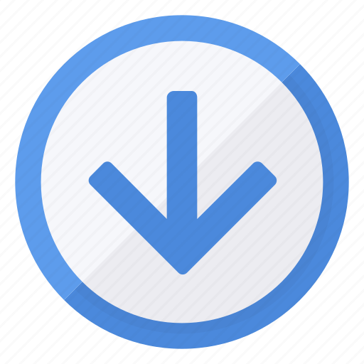 arrow, browse, circle, direction, down, navigation icon