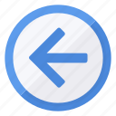 arrow, browse, circle, direction, left, navigation, previous icon