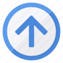 arrow, browse, circle, direction, navigation, up icon