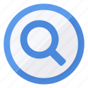 blue, circle, find, glass, magnifying, white icon