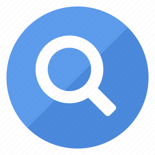 blue, filledcircle, find, glass, magnifying, white icon