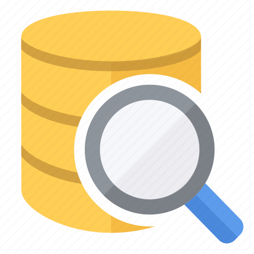 data, database, find, glass, look, lookup, magnifying icon
