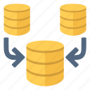 concatenation, data, database, documents, files, merge, reunite icon
