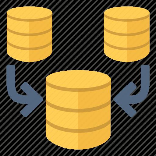 concatenation, data, database, documents, files, merge, reunite icon