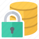 database, lock, password, protected icon
