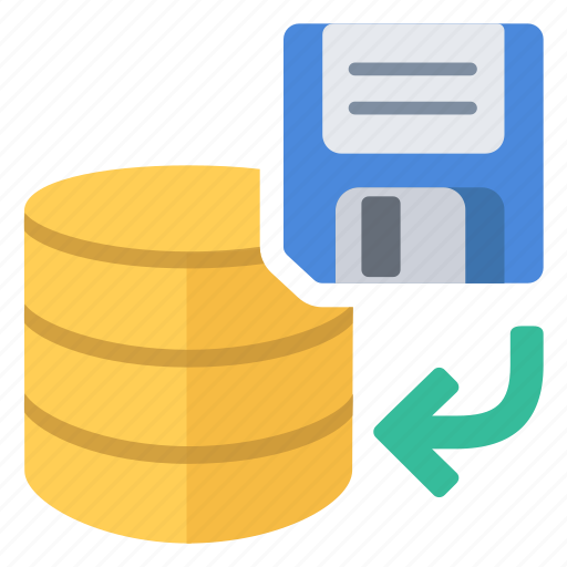 database, disk, from, restore icon
