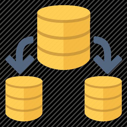 data, database, information, split icon