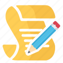 paper, pencil, read, script, write icon