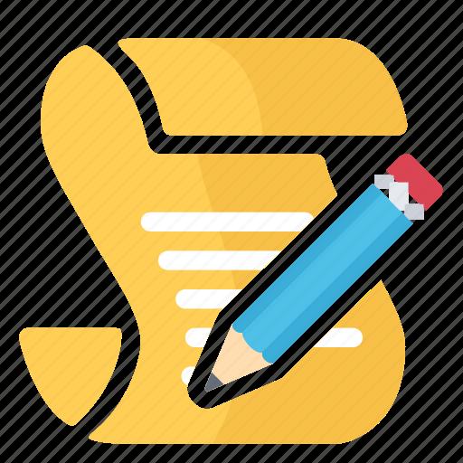 paper, pencil, read, script, write icon