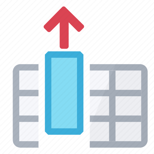 all, arrow, cells, column, extract, full, table icon