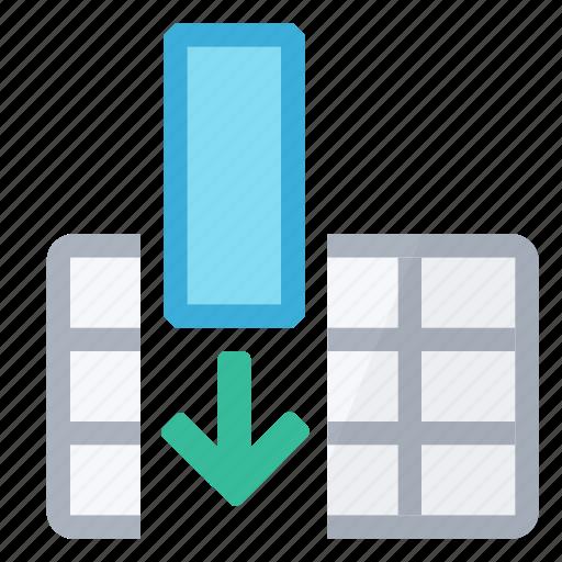all, arrow, cells, column, full, insert, table icon