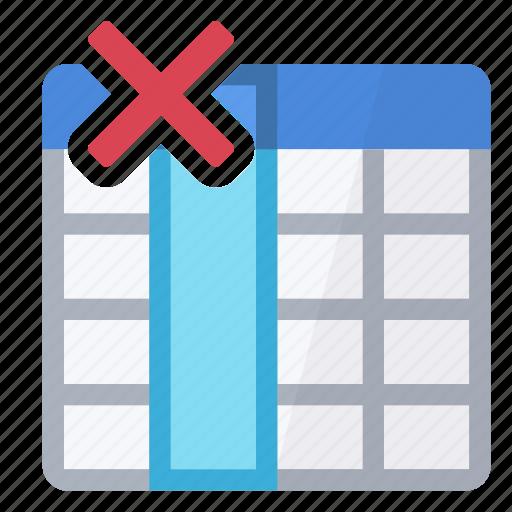 delete, erase, field, table icon