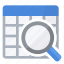 glass, lookup, magnifying, table icon
