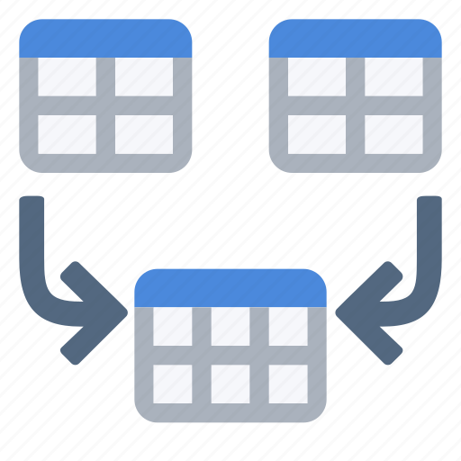 combine, concatenation, join, merge, table icon