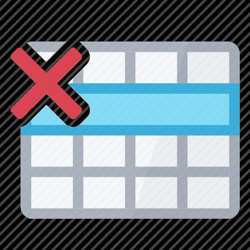 delete, erase, row, table icon