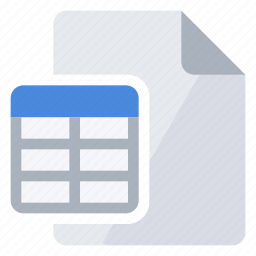 document, overlay, table icon