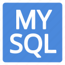 badge, blue, filled, language, mysql, query, structured icon