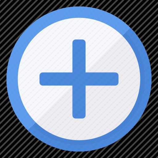 add, blue, circle, plus, white icon