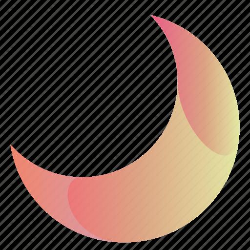 cresent, gradient, moon, moon3 icon