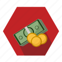 bills, cash, coins, money, pay icon