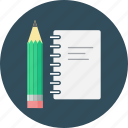 document, inspiration, note, notebook, pencil, work, write icon