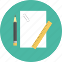 clip, document, office, paper, pencil, ruler, sheet icon