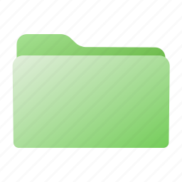 closed, file, folder, green icon