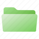 file, folder, green, open icon