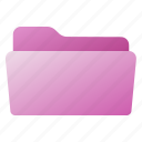 file, folder, open, purple, pink