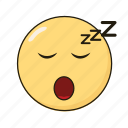 emoji, emoticon, emotikon, ikon, sleep icon