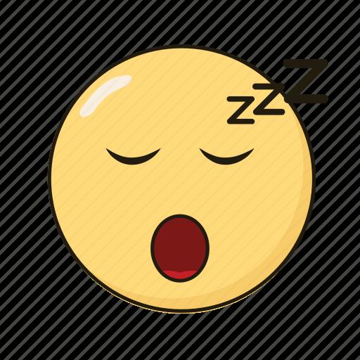 emoji, emoticon, emotikon, ikon, sleep icon