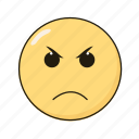 angry, emoji, emoticon, emotikon, ikon icon