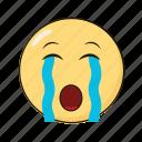 crying, emoji, emoticon, emotikon, ikon, sad icon