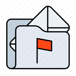email, email folder, email folder flagged, flagged, folder, mail folder, mail folder flagged icon