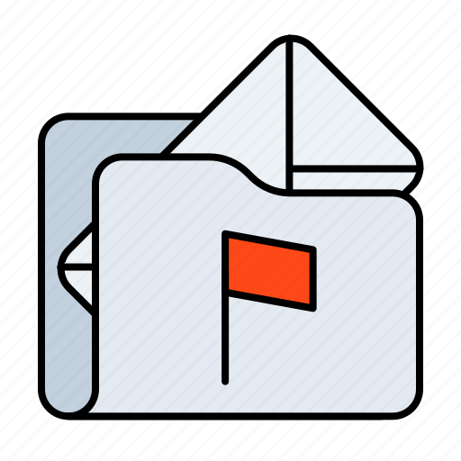 email, email folder, email folder flagged, flagged, folder, mail folder, mail folder flagged icon