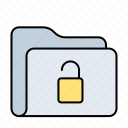 folder, key, lock, open, padlock, password, protection, safe, safety, shield icon