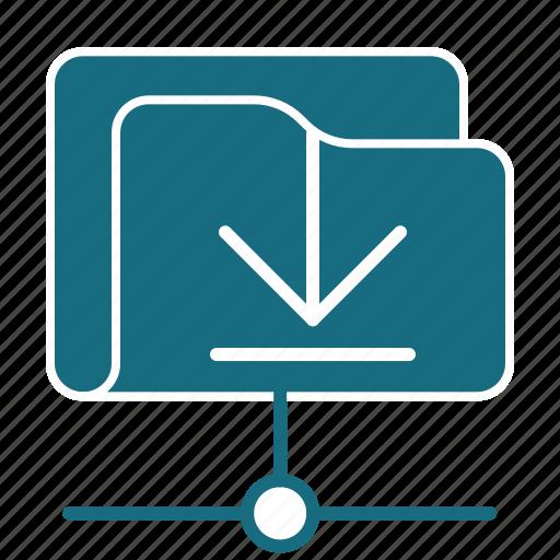 arrow, cloud, download, file, folder, net, storage icon
