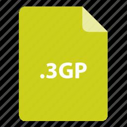 3gp, file, file extension, file format, file type icon