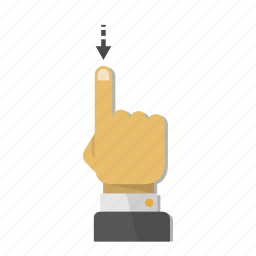 arrow, down, download, gesture, hand, move, touch icon