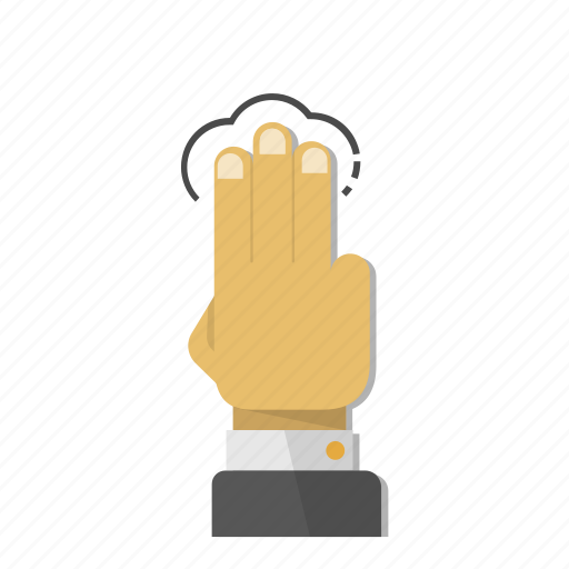 fingers, gesture, hand, screen, tap, three, touch icon