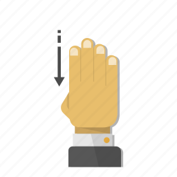 arrow, direction, down, gesture, hand, move, orientation icon