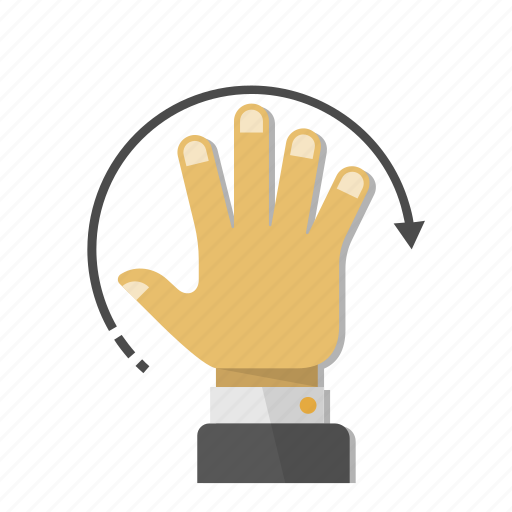 direction, fingers, gesture, right, rotate, swipe, turn icon