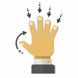 down, fingers, gesture, hand, minimize, roll, touch icon