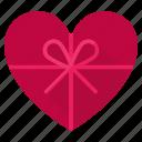 box, gift, heart, present, romance, top view, valintines